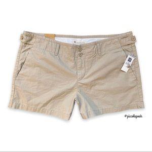 "Gap Favorite Chino Short Light Khaki Plus Size 18 High Rise Cotton NWT 4"" Inseam"